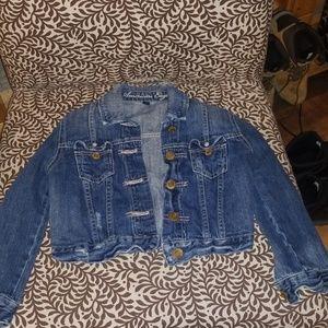 3/4 sleeves cropped blue jean jacket size XS